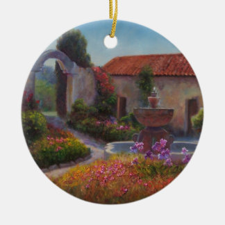 Fuente y jardín en la misión de Carmel Adorno Redondo De Cerámica