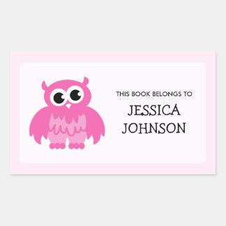 Fuentes de escuela rosadas de las etiquetas pegatina rectangular