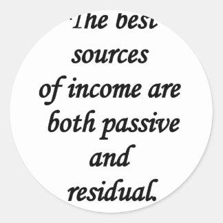 fuentes de ingresos pasivas y residuales pegatina redonda