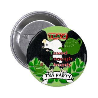Fuentes de la fiesta del té pin redondo de 2 pulgadas
