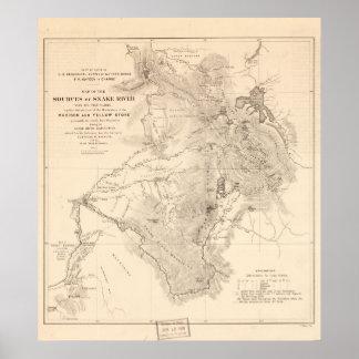 fuentes del mapa de los 1870's del río Snake Wyomi Póster