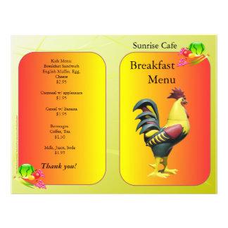 """Fuentes del restaurante, gallo del desayuno de Sun Folleto 8.5"""" X 11"""""""