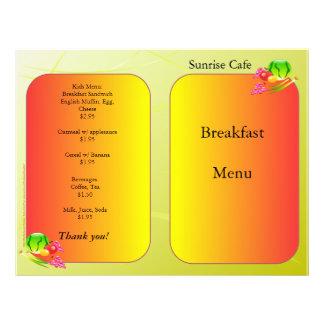 Fuentes del restaurante, menú de la muestra, Sunny Flyer Personalizado