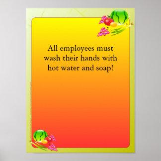 Fuentes del restaurante, poster del lavado, Sunnys