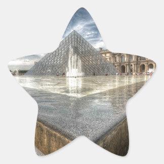 Fuentes en el Louvre, París Francia Pegatina En Forma De Estrella