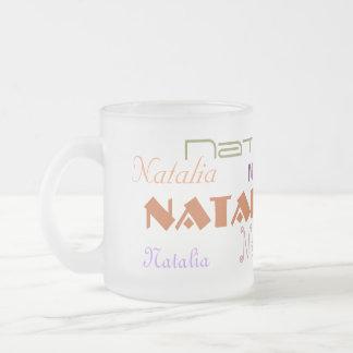 Fuentes frescas su nombre personalizado taza cristal mate