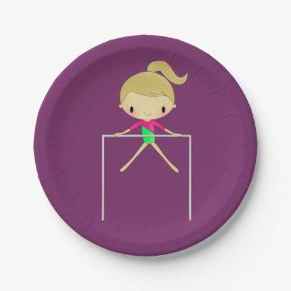 Fuentes gimnásticas del fiesta del gimnasta de las plato de papel de 7 pulgadas