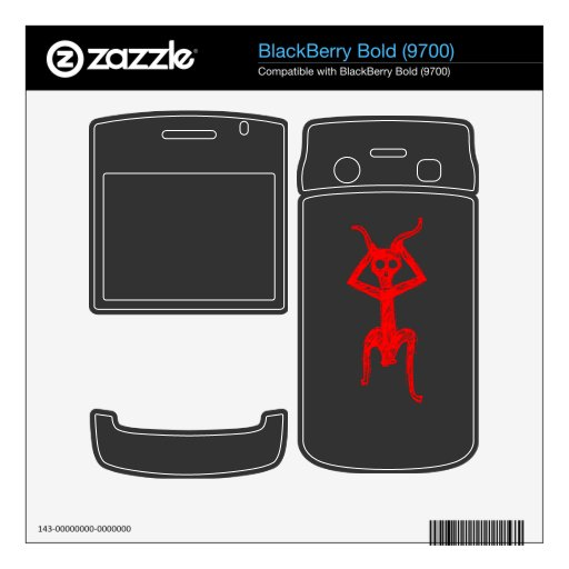 Fuentes rojas de la persona del cráneo BlackBerry skins
