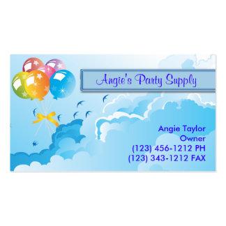 Fuentes y globos del fiesta tarjetas de visita