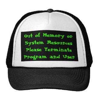 Fuera de código de error de memoria gorros bordados