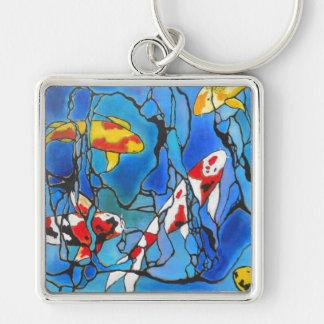 """¡""""Fuera"""" de la pintura azul del arte de los pescad Llavero"""