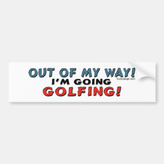 Fuera de mi manera Golfing Bumpersticker Pegatina Para Auto