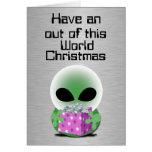 Fuera de navidad de este mundo tarjeta de felicitación