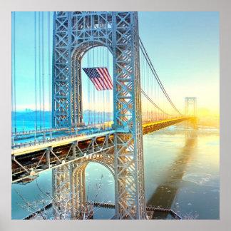 Fuerte de conexión Lee NJ y Manhattan NYPlus de GW Póster