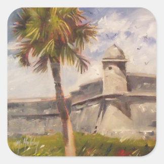 Fuerte de St Augustine - Castillo de San Marcos Pegatina Cuadrada
