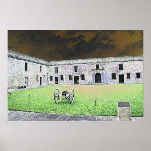 Fuerte de St Augustine que solarized Póster