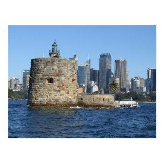 Fuerte Denison y postal del horizonte de Sydney