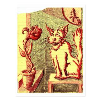 ~ fuerte el gato y la postal color de rosa del ~