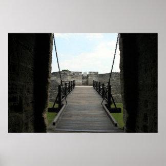 Fuerte en St Augustine que mira de castillo Póster
