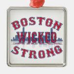 Fuerte travieso de Boston Adorno Navideño Cuadrado De Metal