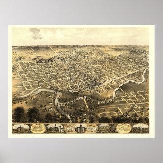 Fuerte Wayne, EN el mapa panorámico - 1868 Póster