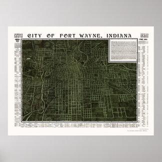 Fuerte Wayne EN el mapa panorámico - 1907 Impresiones