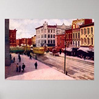 Fuerte Wayne, Indiana Calhoun y calles principales Poster