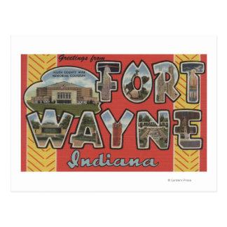 Fuerte Wayne Indiana - escenas grandes de la letr Tarjeta Postal