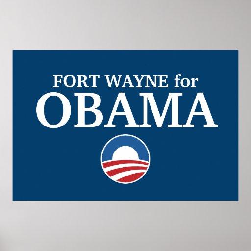 FUERTE WAYNE para el personalizado de Obama su ciu Póster