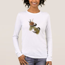 Women's Basic Long Sleeve T-Shirt with Fuertes' Chestnut-backed Chickadee design