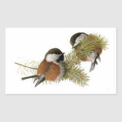 Rectangle Sticker with Fuertes' Chestnut-backed Chickadee design