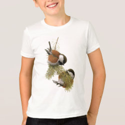 Kids' American Apparel Fine Jersey T-Shirt with Fuertes' Chestnut-backed Chickadee design