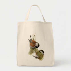 Grocery Tote with Fuertes' Chestnut-backed Chickadee design