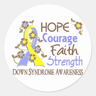 Fuerza 3 Síndrome de Down de la fe del valor de la Pegatinas Redondas