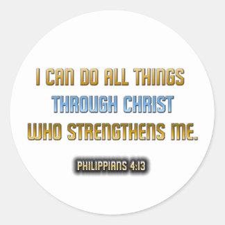 Fuerza a través de Cristo Pegatinas Redondas