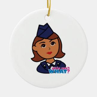Fuerza aérea adorno navideño redondo de cerámica