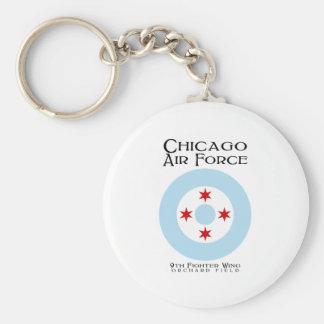 Fuerza aérea de Chicago - 9na ala del combatiente Llavero Redondo Tipo Pin