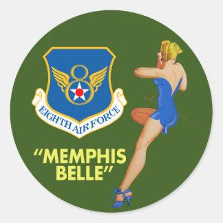 """""""Fuerza aérea de la belleza de Memphis 8va"""" Pegatina Redonda"""