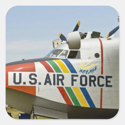 Fuerza aérea Grumman HU-16B de la sección de nariz Calcomanias Cuadradas
