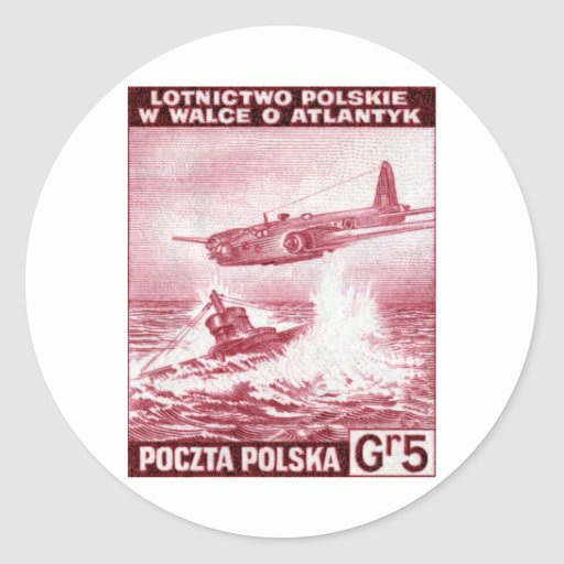 Fuerza aérea polaca de WWII Pegatina Redonda