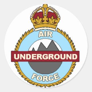 Fuerza aérea subterráneo pegatina redonda