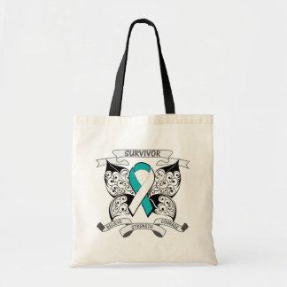 Fuerza de la mariposa del superviviente del cáncer bolsa de mano