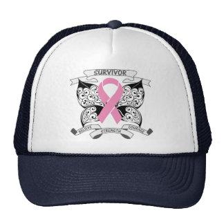 Fuerza de la mariposa del superviviente del cáncer gorros bordados