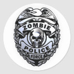 Fuerza de policía del zombi pegatina redonda