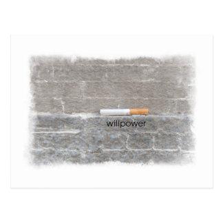 Fuerza de voluntad abandonada fumando el tarjetas postales