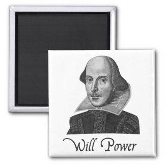 Fuerza de voluntad de William Shakespeare Imán Cuadrado