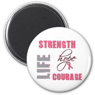 Fuerza, esperanza - mercancía del cáncer de pecho imán redondo 5 cm