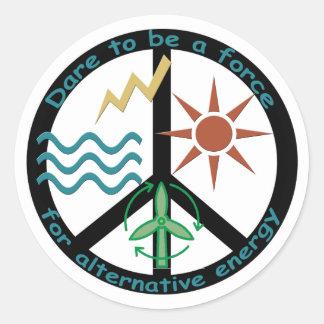 Fuerza para la energía alternativa pegatina redonda