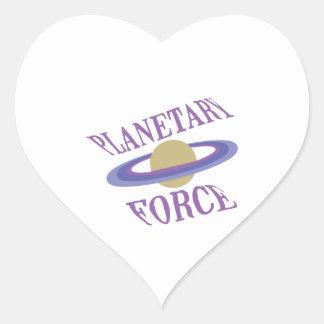 Fuerza planetaria pegatina en forma de corazón