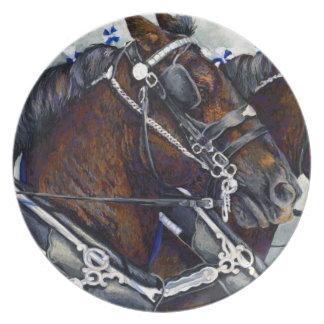 Fuerza y gloria - placa del caballo de Percheron Plato De Comida